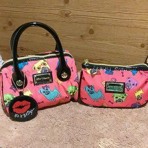 Betsey Johnson Handbag With makeup bag